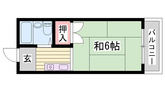 物件番号: 1115116470  姫路市伊伝居 1R ハイツ 間取り図