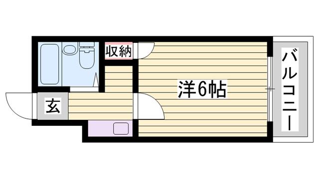 物件番号: 1115126462  姫路市西中島 1K ハイツ 間取り図