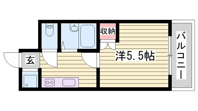 物件番号: 1115153841  姫路市城北新町1丁目 1K マンション 間取り図