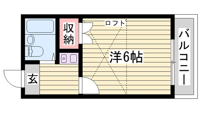 物件番号: 1115153915  姫路市飾磨区今在家2丁目 1K ハイツ 間取り図