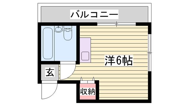 物件番号: 1115156516  姫路市西八代町 1R マンション 間取り図