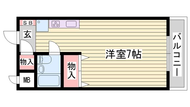 物件番号: 1115157696  姫路市広畑区清水町1丁目 1R ハイツ 間取り図