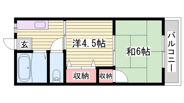 物件番号: 1115158189  姫路市田寺6丁目 2K ハイツ 間取り図