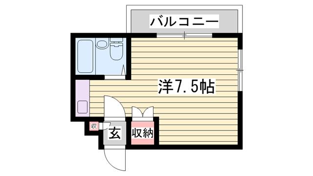 物件番号: 1115170585  姫路市伊伝居 1R マンション 間取り図