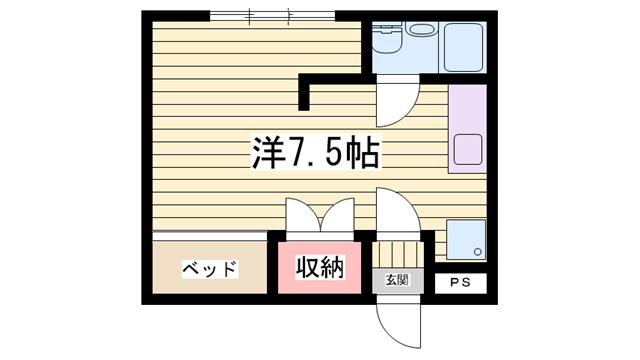 物件番号: 1115170586  姫路市伊伝居 1R マンション 間取り図