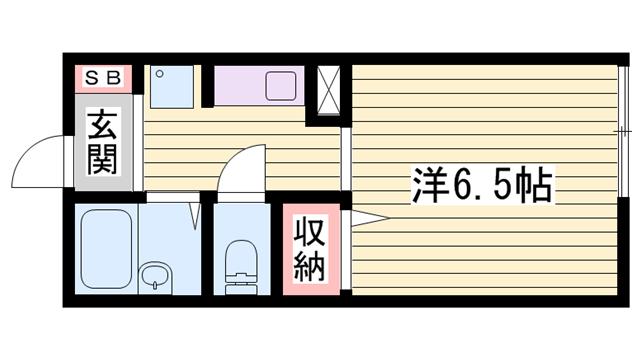 物件番号: 1115172711  姫路市北平野3丁目 1K ハイツ 間取り図