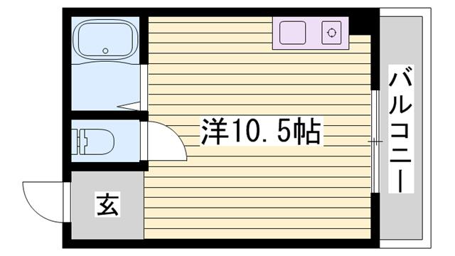 物件番号: 1115173655  姫路市西八代町 1R マンション 間取り図
