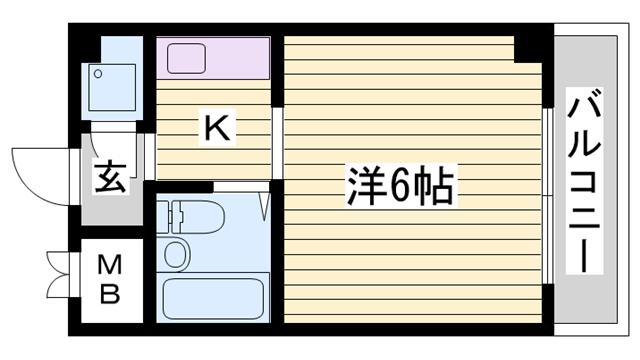 物件番号: 1115177842  姫路市城北新町2丁目 1K マンション 間取り図