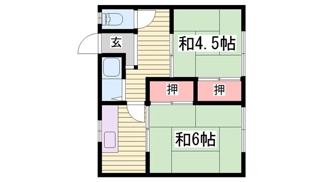 物件番号: 1115178230  姫路市御立西1丁目 2K ハイツ 間取り図