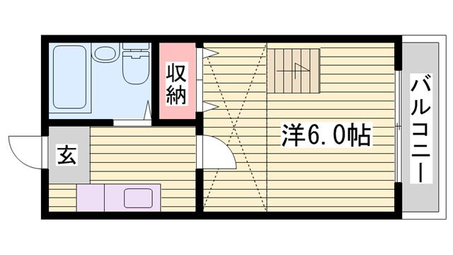 物件番号: 1115178286  姫路市西八代町 1K ハイツ 間取り図