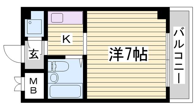 物件番号: 1115180096  姫路市城北新町2丁目 1K マンション 間取り図