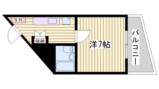 物件番号: 1115180155  姫路市山吹2丁目 1K マンション 間取り図