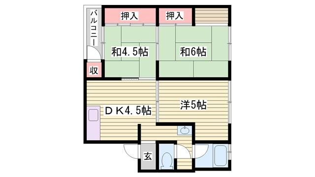 物件番号: 1115180164  姫路市大津区恵美酒町2丁目 3DK マンション 間取り図