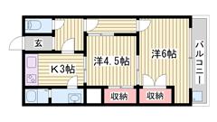 エアコン完備!! 山電網干駅まで4分!! 収納多数で便利!! 103の間取