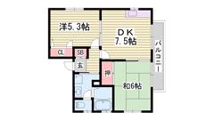 本竜野駅徒歩圏内です 駐車場1台込み 角部屋 TVドアホン付き! 101の間取