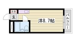 敷金・礼金0円 オートロック・ミニ冷蔵庫付き 単身・学生さんにオススメです☆ 208の間取