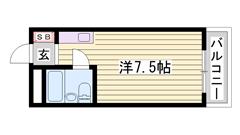 敷金・礼金0円 オートロック・ミニ冷蔵庫付き 単身・学生さんにオススメです☆ 306の間取