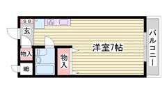 収納多めのワンルーム 一人暮らしにおすすめ もちろんエアコン完備 208の間取