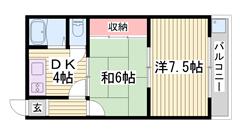 敷金0円です☆曽根駅徒歩圏内で便利ですよ♪♪ 208の間取