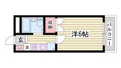 東加古川駅まで徒歩15分!単身さんオススメです♪ 202の間取