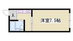 敷金・礼金0円物件 冷蔵庫付き ベッド付きです 202の間取