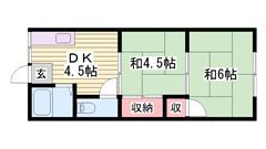 このお家賃で2DKは要チェックです♪収納多数(^O^) 5の間取