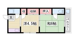 バス・トイレ別♪福崎駅まで徒歩7分! 6の間取