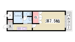 駅近!!設備充実で単身者にオススメ♪閑静な住宅街です☆ 201の間取